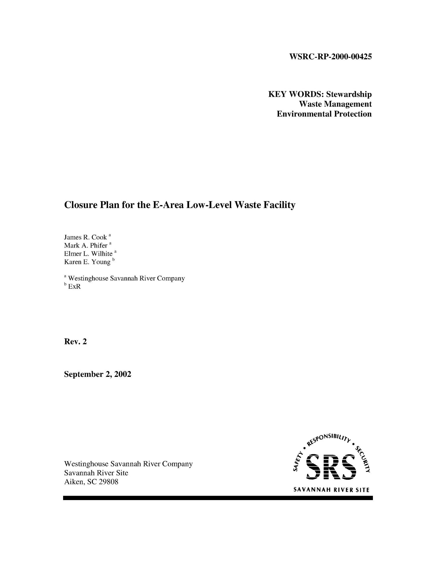 Closure Plan for the E-Area Low-Level Waste Facility                                                                                                      [Sequence #]: 1 of 84