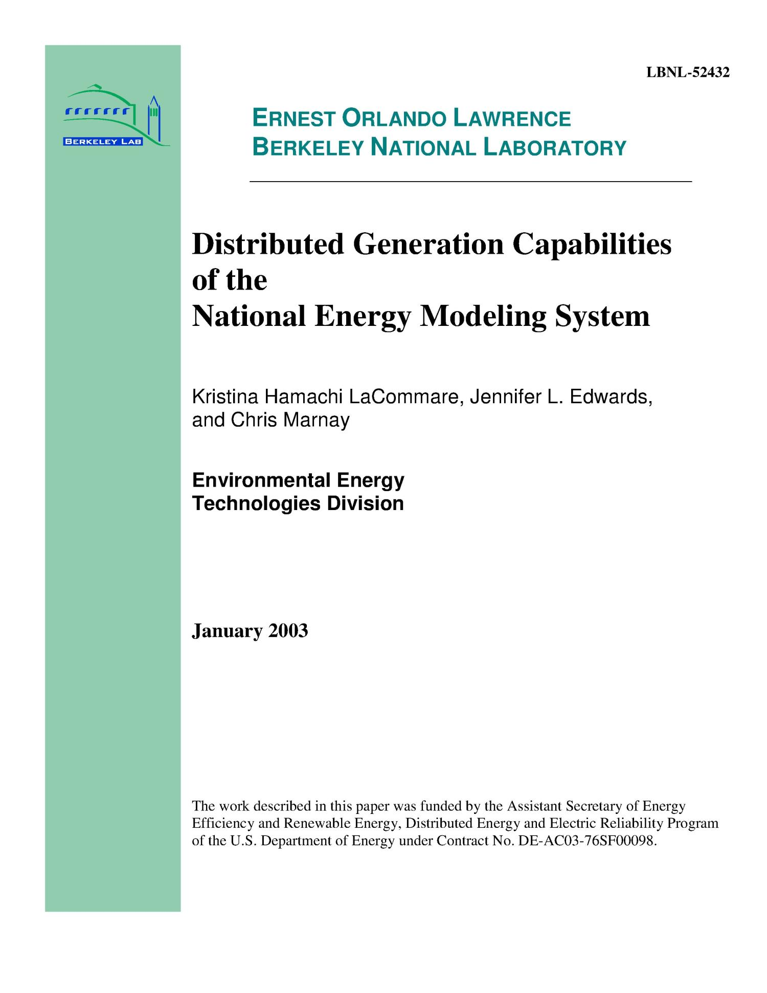 Distributed generation capabilities of the national energy modeling system                                                                                                      [Sequence #]: 1 of 47