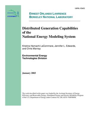 Primary view of object titled 'Distributed generation capabilities of the national energy modeling system'.