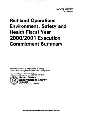 Primary view of object titled 'Richland Operations (DOE-RL) Environmental Safety Health (ES and H) FY 2000 and FY 2001 Execution Commitment Summary'.