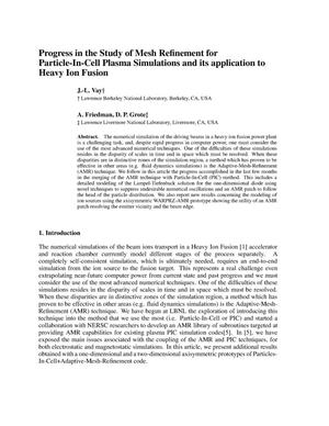 Primary view of object titled 'Progress in the study of mesh refinement for particle-in-cell plasma simulations and its application to heavy ion fusion'.