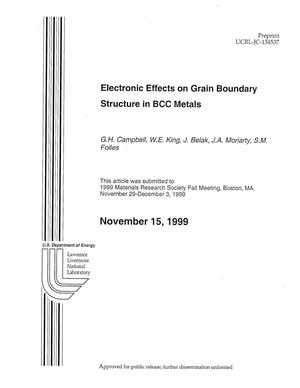 Primary view of object titled 'Electronic Effects on Grain Boundary Structure in BCC Metals'.