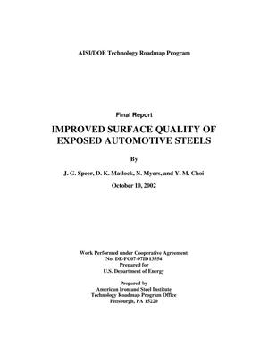 Primary view of object titled 'AISI/DOE Technology Roadmap Program: Improved Surface Quality of Exposed Automotive Sheet Steels'.