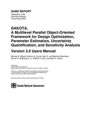 Primary view of object titled 'DAKOTA, A Multilevel Parallel Object-Oriented Framework for Design Optimization, Parameter Estimation, Uncertainty Quantification, and Sensitivity Analysis Version 3.0'.