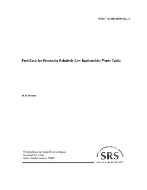 Primary view of object titled 'Feed Basis for Processing Relatively Low Radioactivity Waste Tanks'.