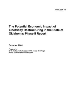 Primary view of object titled 'The Potential Economic Impact of Electricity Restructuring in the State of Oklahoma: Phase II Report'.