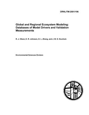 Primary view of object titled 'Global and Regional Ecosystem Modeling: Databases of Model Drivers and Validation Measurements'.