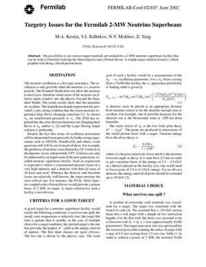 Primary view of object titled 'Targetry issues for the Fermilab 2-MW neutrino superbeam'.