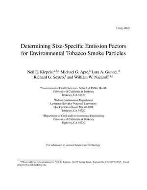 Primary view of object titled 'Determining size-specific emission factors for environmental tobacco smoke particles'.