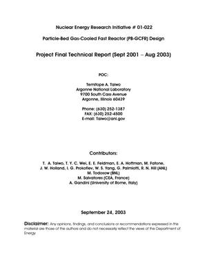 Primary view of object titled 'Particle-bed gas-cooled fast reactor (PB-GCFR) design. Project final technical report (Sept 2001 - Aug 2003).'.