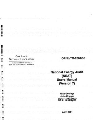 Primary view of object titled 'National Energy Audit (NEAT) Users Manual Version 7'.
