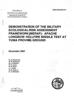 Primary view of object titled 'Demonstration of the Military Ecological Risk Assessment Framework (MERAF): Apache Longbow - Hell Missile Test at Yuma Proving Ground'.
