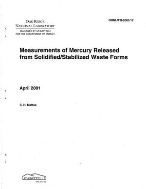 Primary view of object titled 'Measurements of Mercury Released from Solidified/Stabilized Waste Forms'.