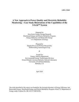 Primary view of object titled 'A new approach to power quality and electricity reliability monitoring-case study illustrations of the capabilities of the I-GridTM system'.