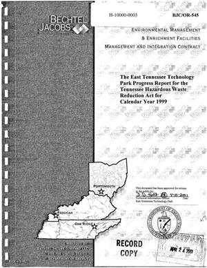 Primary view of object titled 'The East Tennessee Technology Park Progress Report for the Tennessee Hazardous Waste Reduction Act for Calendar Year 1999'.