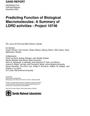 Primary view of object titled 'Predicting Function of Biological Macromolecules: A Summary of LDRD Activities: Project 10746'.