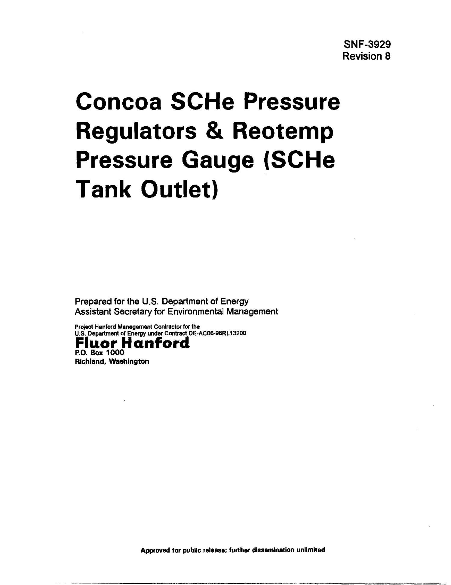 Concoa SCHe Pressure Regulators and Reotemp Pressure Gauge (SCHe Tank Outlet)                                                                                                      [Sequence #]: 4 of 17