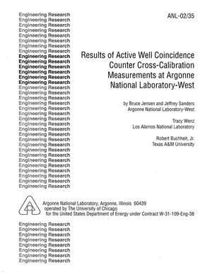 Primary view of object titled 'Results of active well coincidence counter cross-calibration measurements at Argonne National Laboratory-West.'.