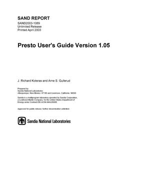 Primary view of object titled 'Presto User's Guide Version 1.05'.