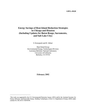 Primary view of object titled 'Energy savings for heat-island reduction strategies in Chicago and Houston (including updates for Baton Rouge, Sacramento, and Salt Lake City)'.