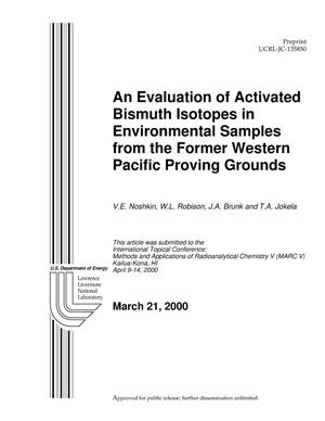 Primary view of object titled 'An Evaluation of Activated Bismuth Isotopes in Environmental Samples From the Former Western Pacific Proving Grounds'.