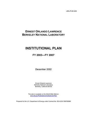 Primary view of object titled 'Institutional Plan FY 2003 - 2007'.
