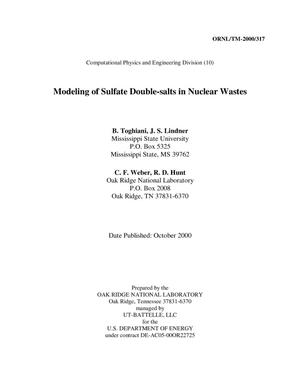 Primary view of object titled 'Modeling of Sulfate Double-salts in Nuclear Wastes'.