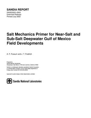 Primary view of object titled 'Salt Mechanics Primer for Near-Salt and Sub-Salt Deepwater Gulf of Mexico Field Developments'.