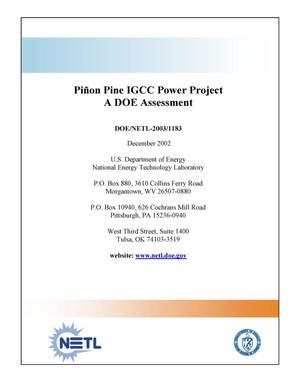 Primary view of object titled 'Pinon Pine IGCC Power Project: A DOE Assessment'.