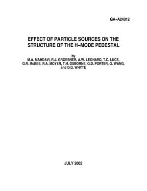 Primary view of object titled 'EFFECT OF PARTICLE SOURCES ON THE STRUCTURE OF THE H-MODE PEDESTAL'.
