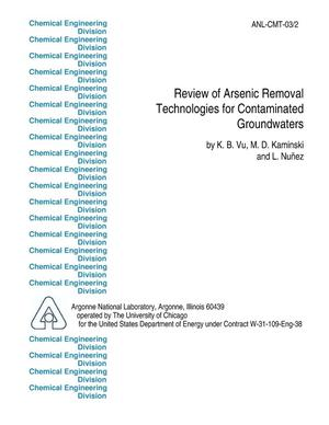Primary view of object titled 'Review of arsenic removal technologies for contaminated groundwaters.'.