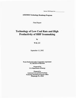 Primary view of object titled 'AISI/DOE Technology Roadmap Program: A Technology of Low Coal Rate and High Productivity of RHF Ironmaking'.