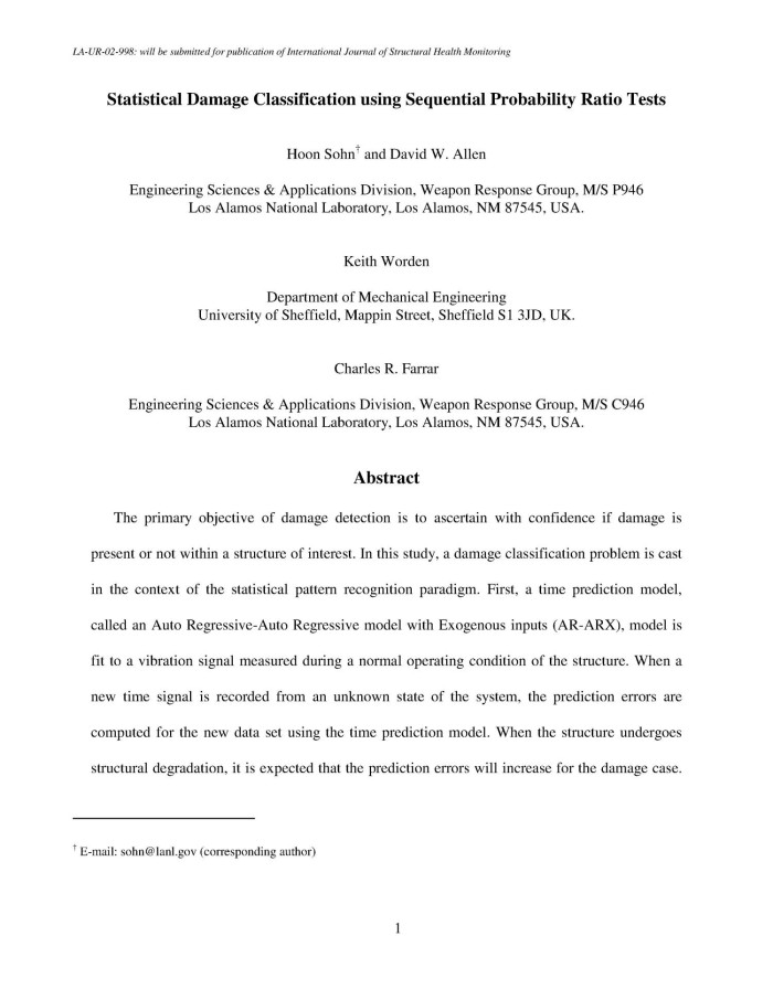 STATISTICAL DAMAGE CLASSIFICATION USING SEQUENTIAL PROBABILITY RATIO