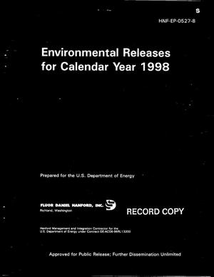 Primary view of object titled 'Environmental Releases Report for Calendar Year 1998'.