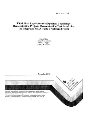 Primary view of object titled 'FY98 final report for the expedited technology demonstration project: demonstration test results for the integrated MSO waste treatment system'.
