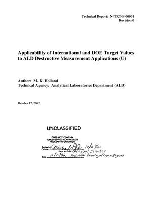 Primary view of object titled 'Applicability of International and DOE Target Values to ALD Destructive Measurement Applications'.