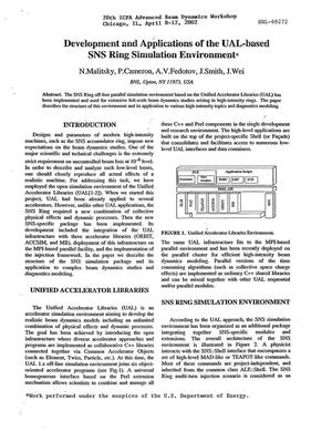 Primary view of object titled 'DEVELOPMENT AND APPLICATIONS OF THE UAL BASED SNS RING SIMULATION ENVIRONMENT.'.