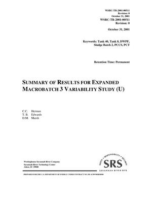Primary view of object titled 'Summary of Results for Expanded Macrobatch 3 Variability Study'.