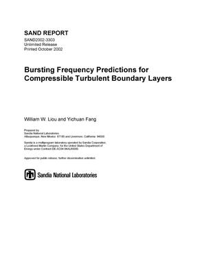 Primary view of object titled 'Bursting Frequency Predictions for Compressible Turbulent Boundary Layers'.