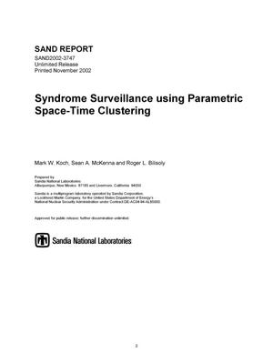 Primary view of object titled 'Syndrome Surveillance Using Parametric Space-Time Clustering'.