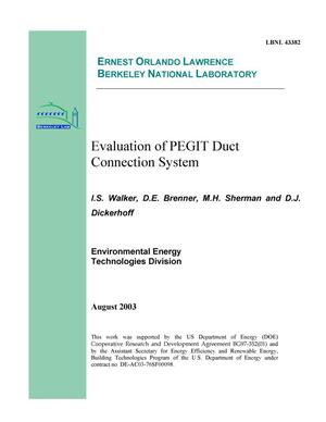 Primary view of object titled 'Evaluation of PEGIT duct connection system'.