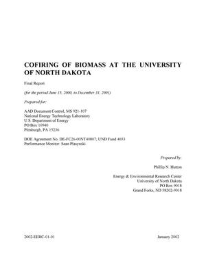 Primary view of object titled 'COFIRING OF BIOMASS AT THE UNIVERSITY OF NORTH DAKOTA'.