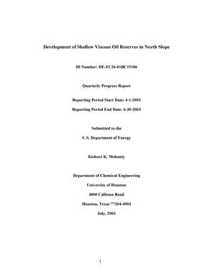 Primary view of object titled 'DEVELOPMENT OF SHALLOW VISCOUS OIL RESERVES IN NORTH SLOPE'.