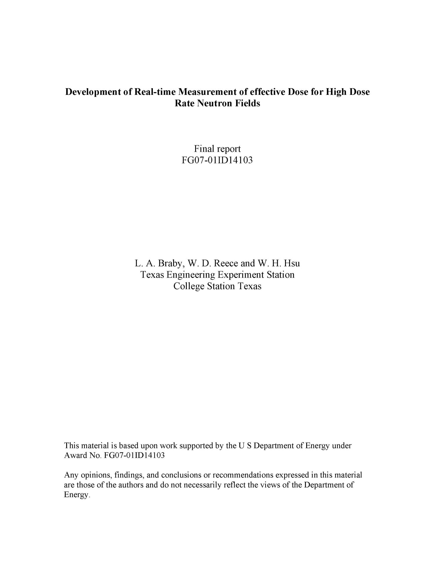 Development of Real-Time Measurement of Effective Dose for High Dose Rate Neutron Fields                                                                                                      [Sequence #]: 1 of 6