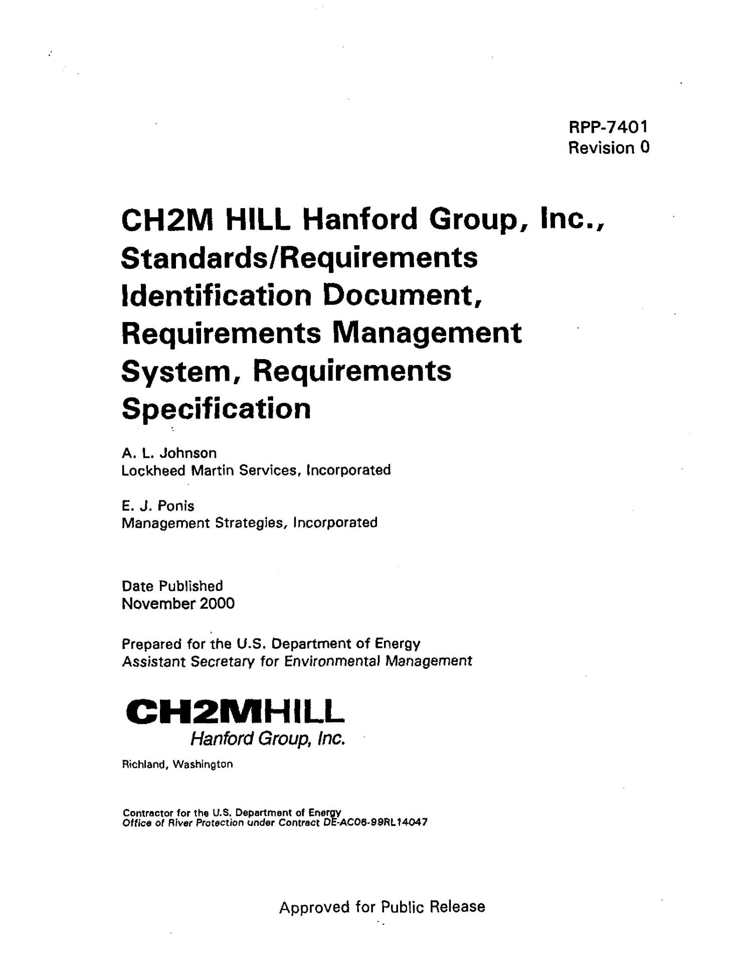 CH2M Hill Hanford Group, Inc. Standards and Requirements Identification Document (SRID) Requirements Management System and Requirements Specification                                                                                                      [Sequence #]: 4 of 18