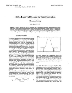 Primary view of object titled 'HERA BEAM TAIL SHAPING BY TUNE MODULATION.'.
