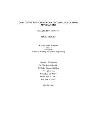 Primary view of object titled 'Qualitative Reasoning for Additional Die Casting Applications'.