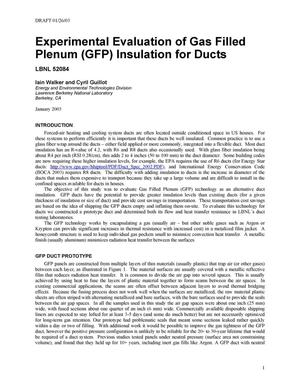 Primary view of object titled 'Experimental evaluation of gas filled plenum (GFP) insulation for ducts'.
