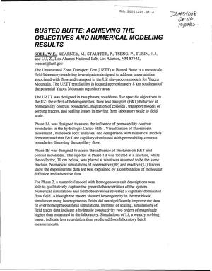 Primary view of object titled 'Busted Butte: Achieving the Objectives and Numerical Modeling Results'.