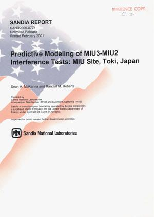 Primary view of object titled 'Predictive Modeling of MIU3-MIU2 Interference Tests'.